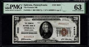 1929 $20 Ephrata PA National PMG 63