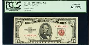 1953C $5 STAR Legal Tender Note PCGS 63PPQ