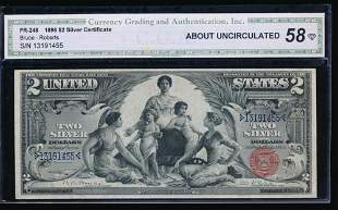 1896 $2 Educational Silver Certificate CGA 58