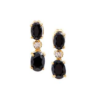 Plated 18KT Yellow Gold 3.30ctw Black Sapphire and