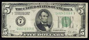 1928A $5 Chicago Federal Reserve Note