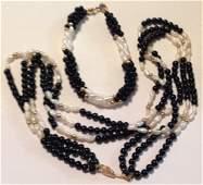 Estate vintage fine 14k gold pearl bracelet necklace