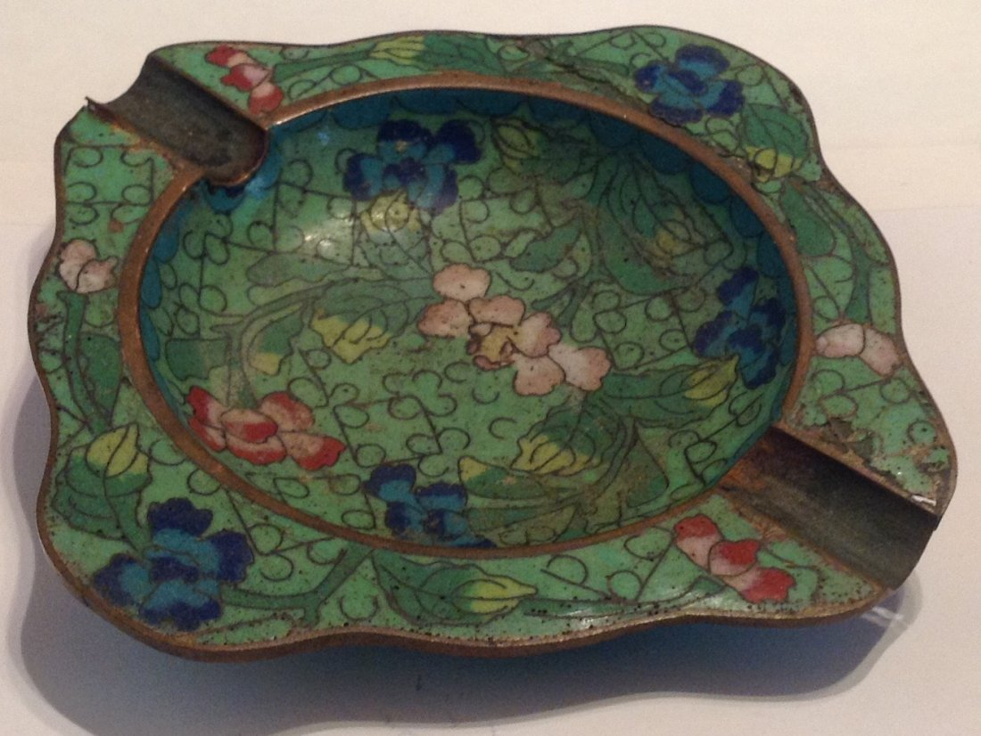 Estate vintage oriental cloisonné ashtray