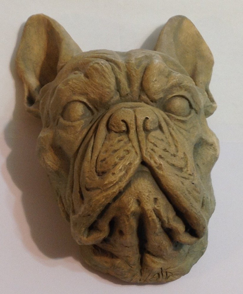 Estate carved French bulldog head sculpture