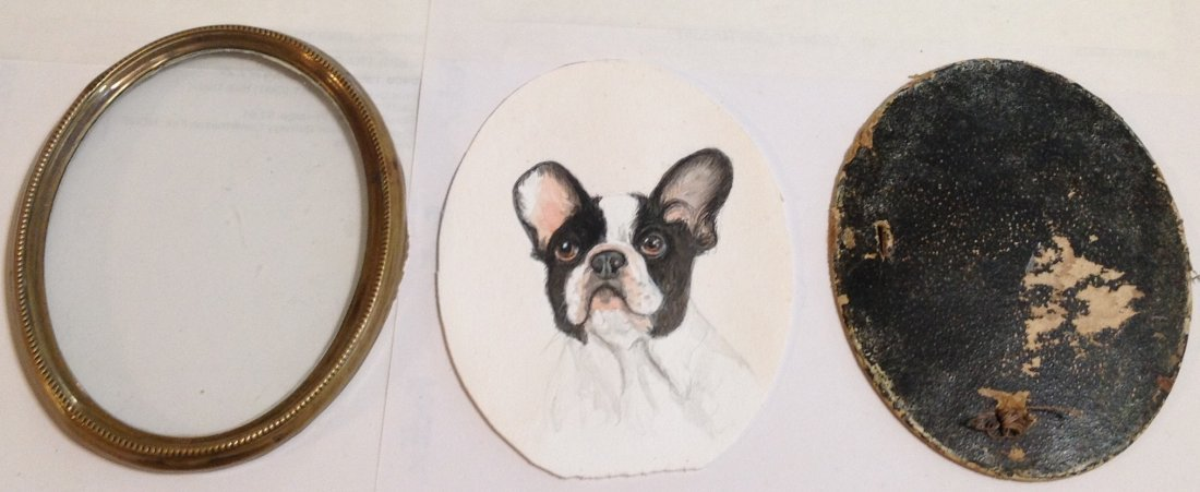 Antique French bulldog portrait oval frame