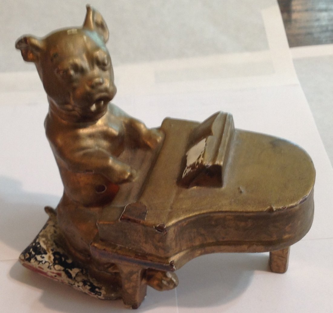 Antique bronze French Bulldog piano heavy sculpture