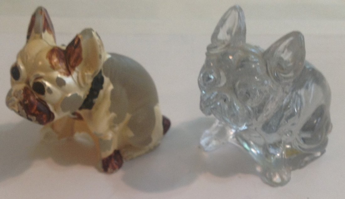 Antique french bulldog glass figurine lot of 2