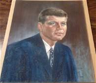 estate vintage John Kennedy pastel on board signed