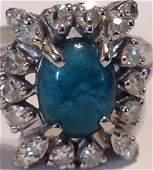 Estate antique 14k white gold emerald diamonds ring