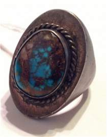 Estate huge old pawn Sterling silver turquoise ring