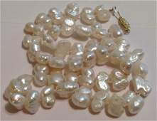 Estate vintage 14k gold baroque white pearl necklace