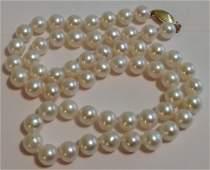 Estate vintage 14k gold white pearl necklace
