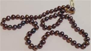 Estate vintage 14k gold Tahitian pearl necklace