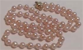 Estate vintage 14k gold pink pearl necklace