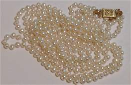 Estate vintage 14k yellow gold white pearl necklace