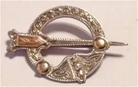 Estate antique sterling 10k gold Celtic kilt pin