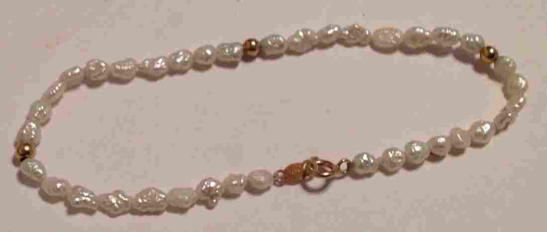 Estate vintage 14k gold clasp baroque pearl bracelet