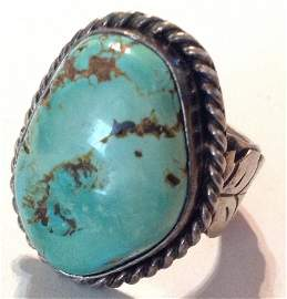 Estate old pawn silver Huge natural turquoise ring  (R)