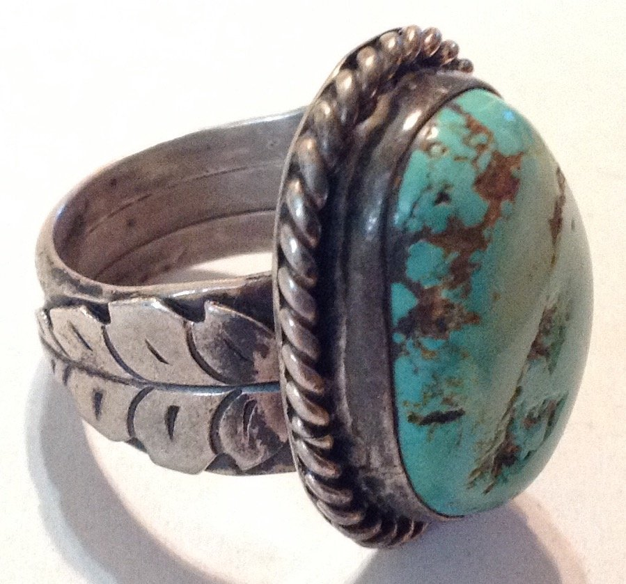 Estate old pawn silver Huge natural turquoise ring  (R) - 2