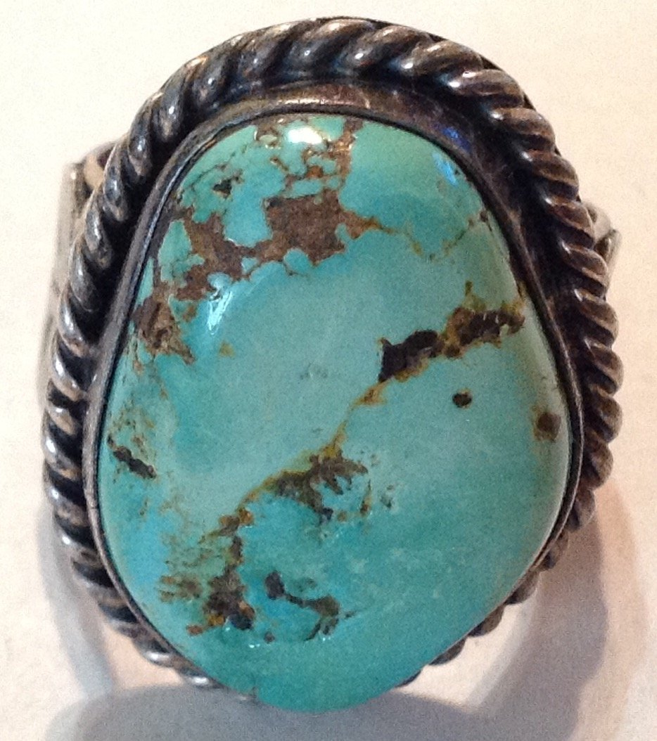 Estate old pawn silver Huge natural turquoise ring  (R) - 3