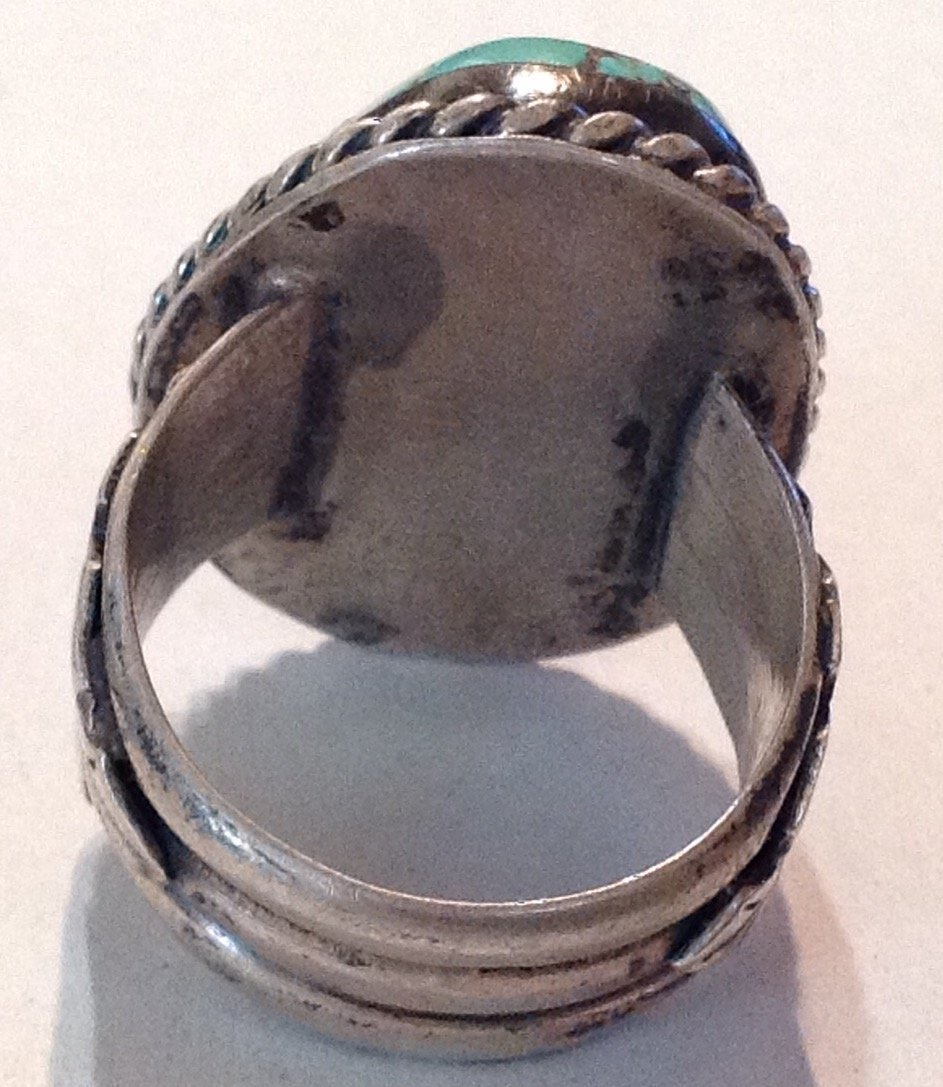 Estate old pawn silver Huge natural turquoise ring  (R) - 4