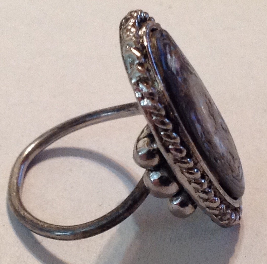 Estate old pawn silver Huge natural abalone ring  (R) - 2