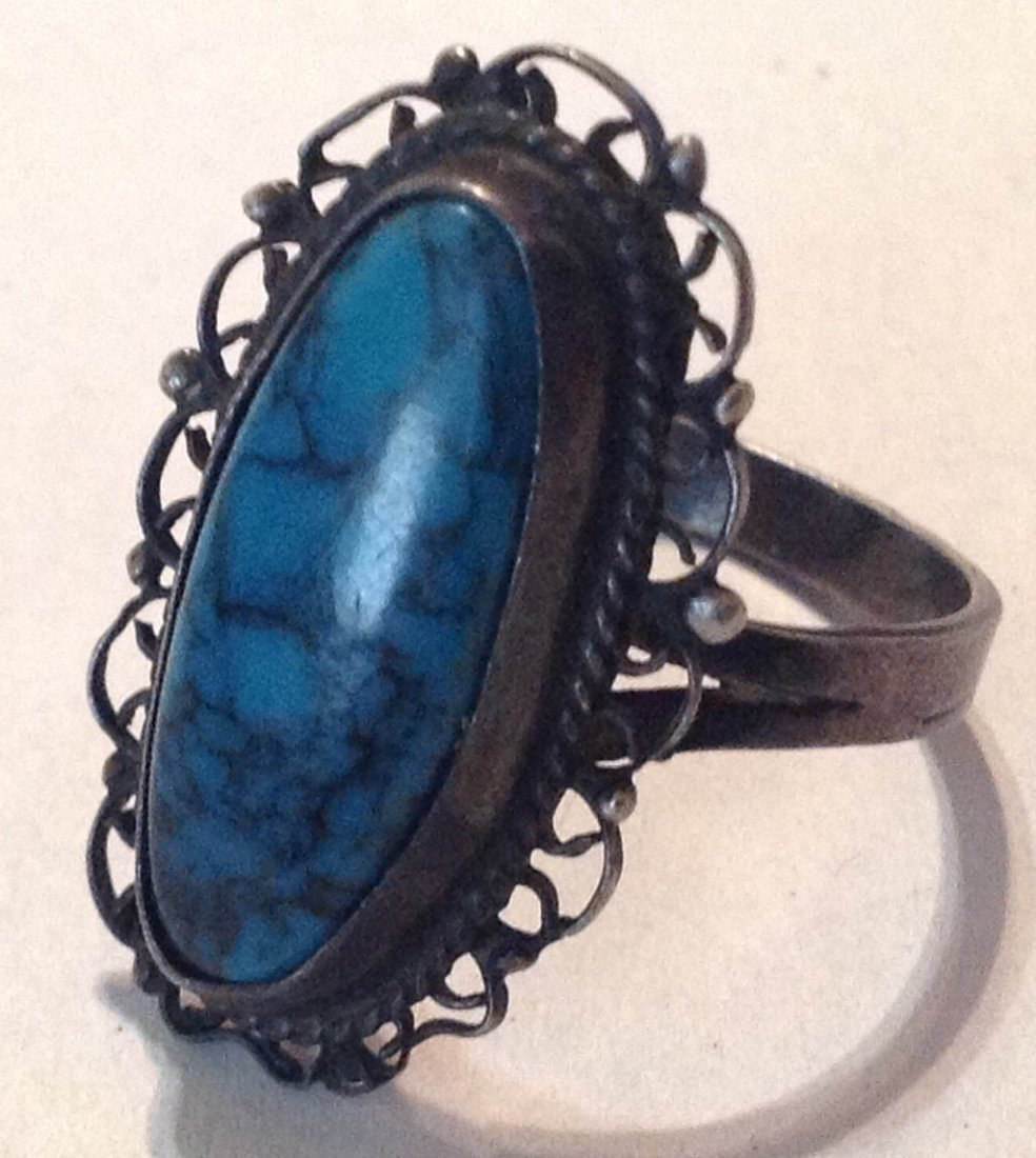 Estate old Mexico sterling silver turquoise ring  (R)