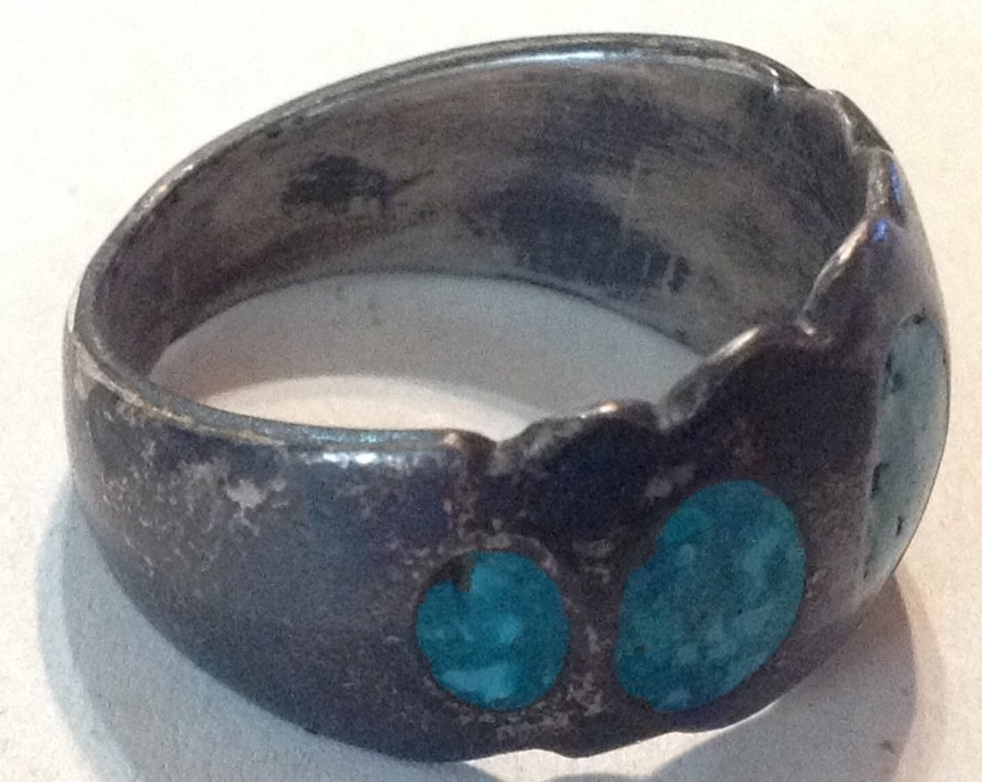 Estate old sterling silver crushed turquoise ring  (R) - 2