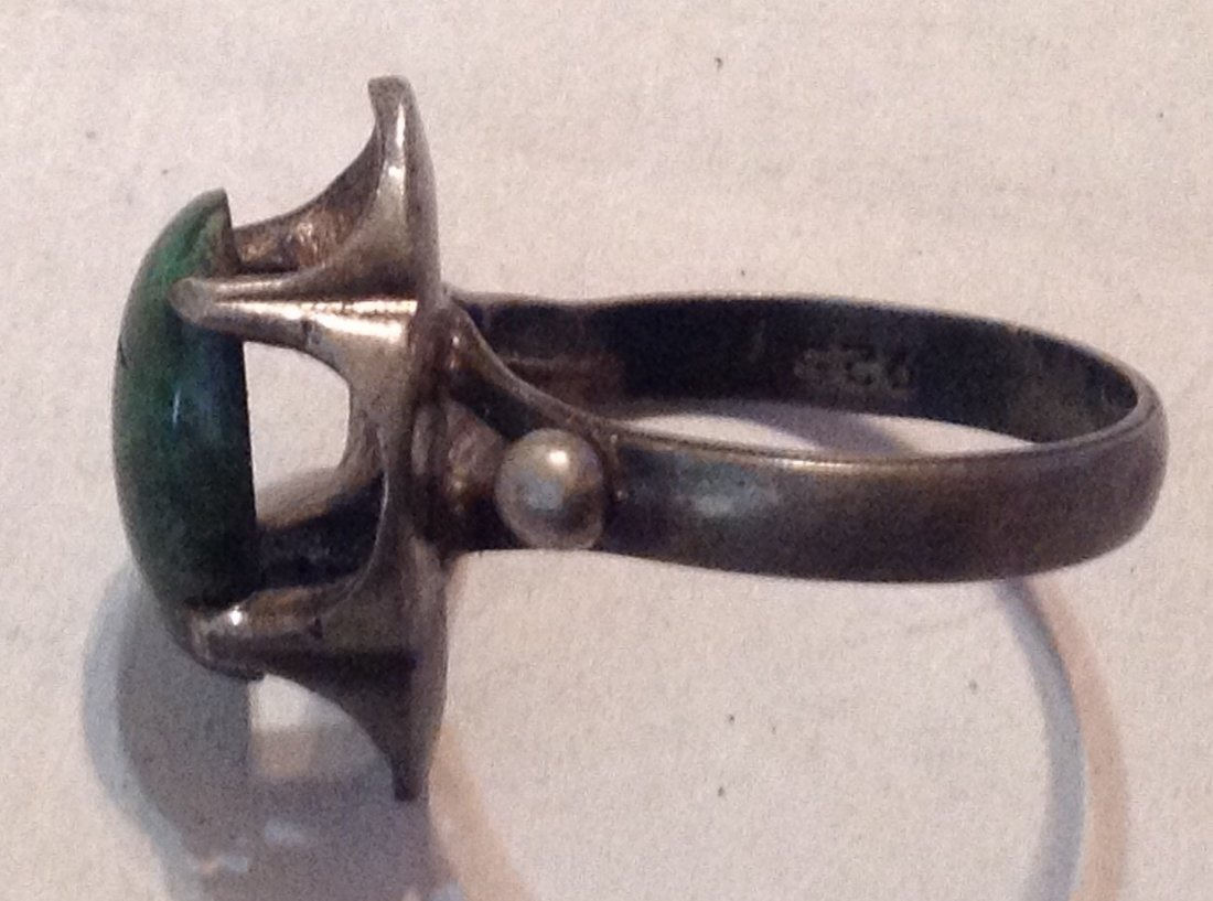 Estate old native sterling cerillos turquoise ring  (R) - 2