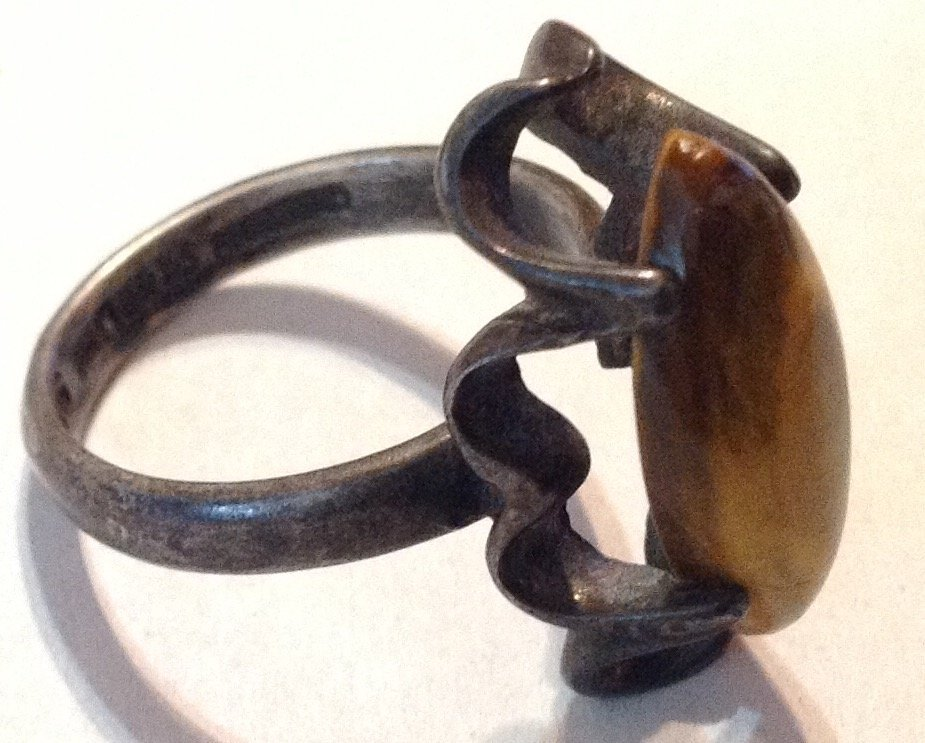 Estate old native sterling brown stone ring  (R) - 2