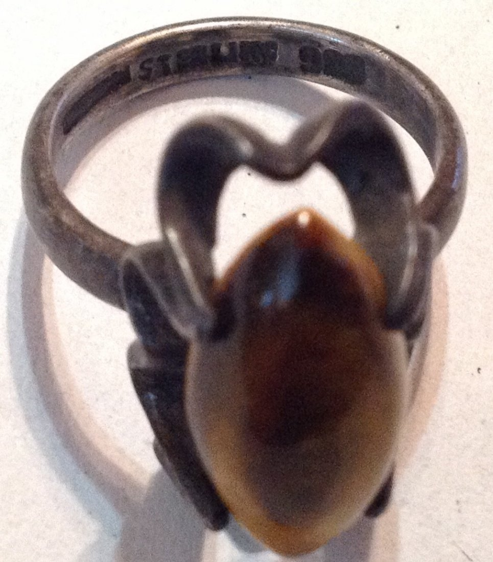 Estate old native sterling brown stone ring  (R) - 4