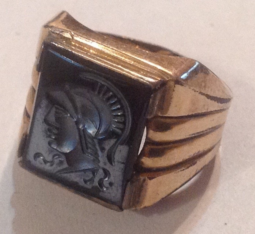 Estate antique 10k Goldfilled Roman soldier ring  (R)