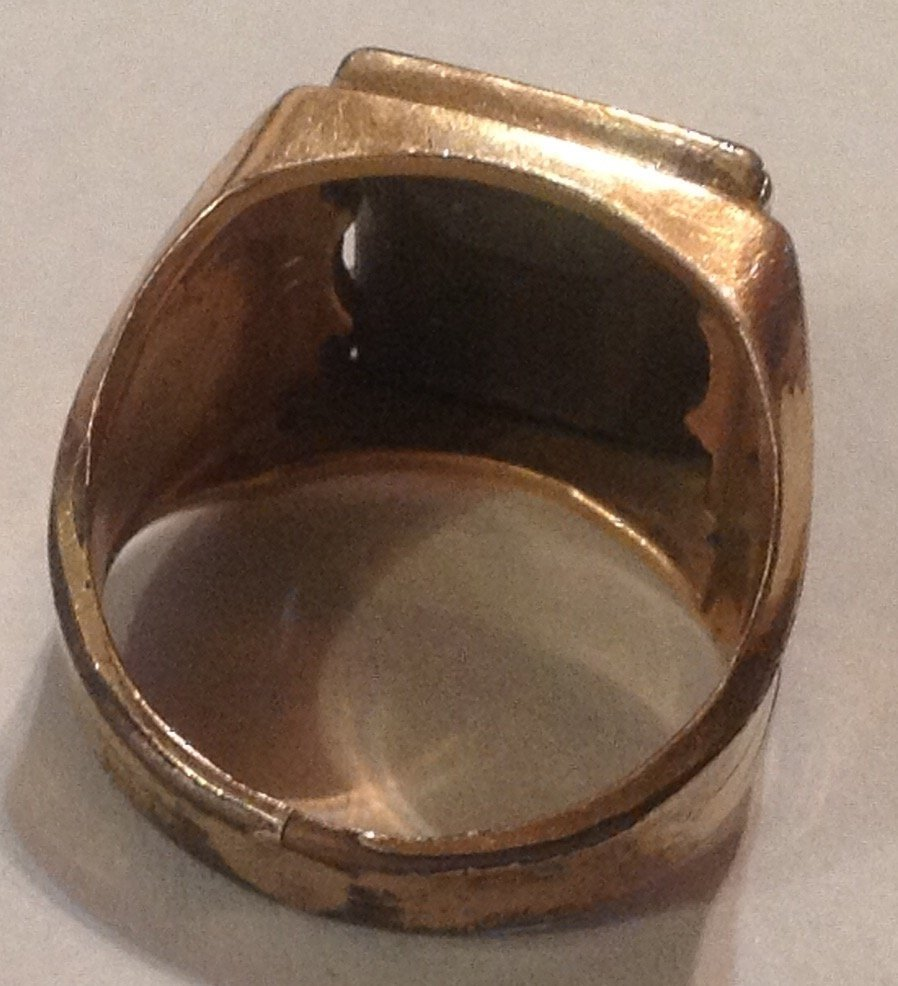 Estate antique 10k Goldfilled Roman soldier ring  (R) - 3