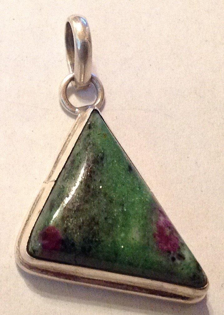 Estate Sterling silver Jasper large pendant (R)