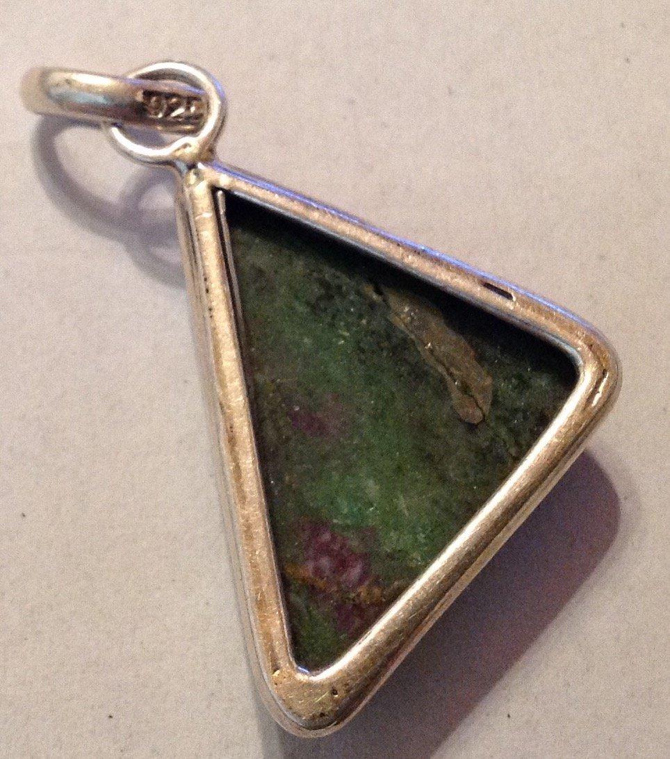 Estate Sterling silver Jasper large pendant (R) - 2