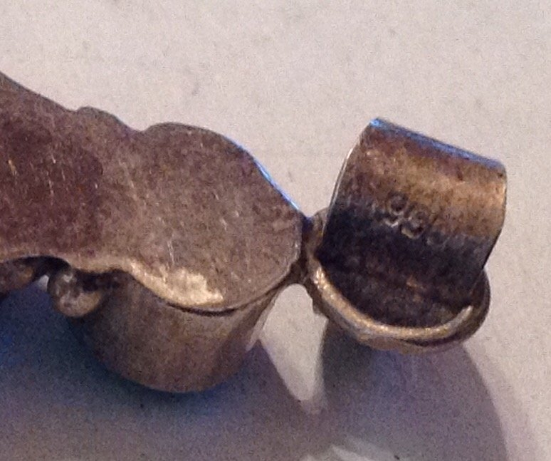 Estate Sterling silver 950 malachite large pendant (R) - 4