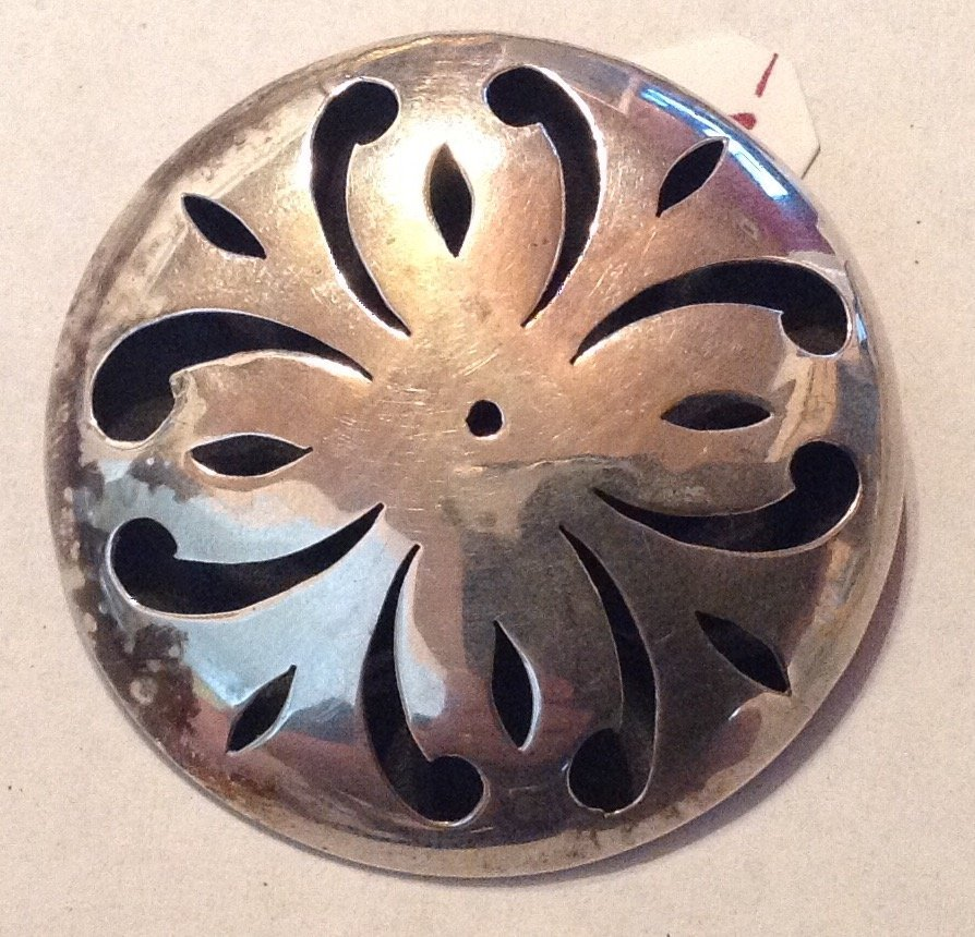 Estate Sterling silver Mexico scroll large brooch (R)