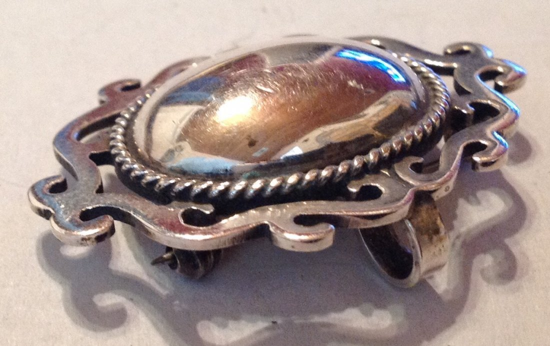 Estate Sterling silver Mexico scroll large brooch (R) - 2
