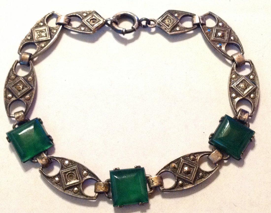 Estate old Sterling Chrysoprase link bracelet (R)