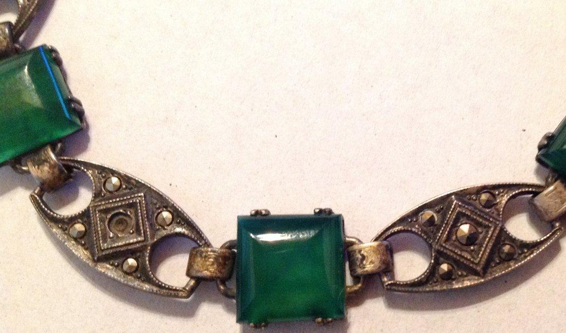 Estate old Sterling Chrysoprase link bracelet (R) - 2