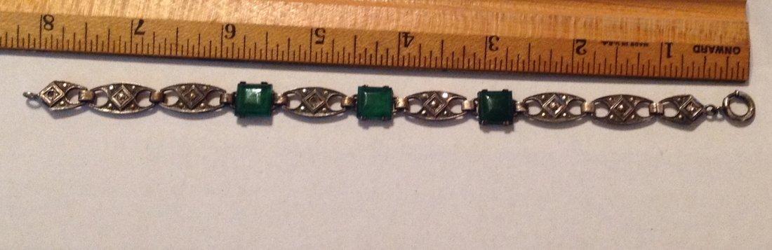 Estate old Sterling Chrysoprase link bracelet (R) - 4