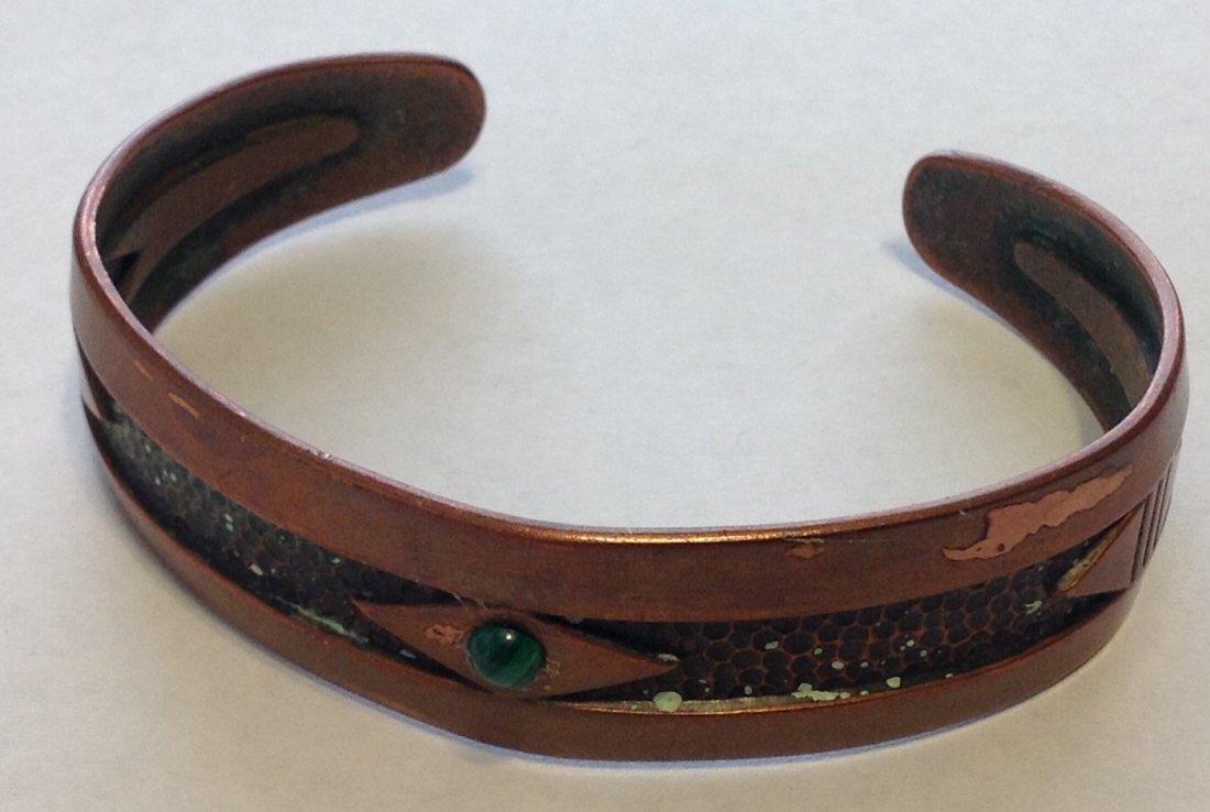 Estate old copper stamped native cuff bracelet  (R)