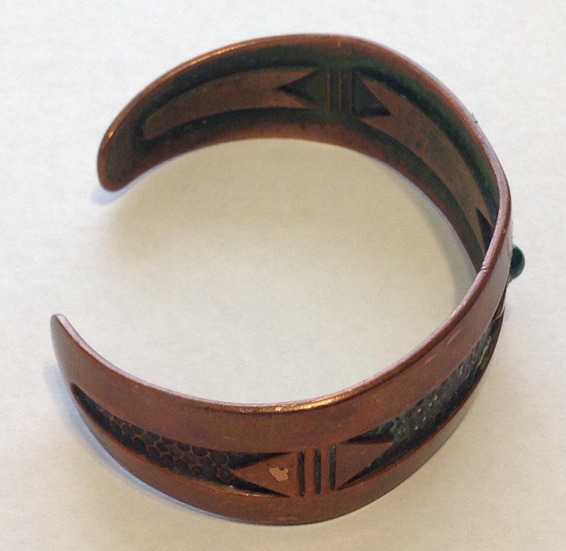 Estate old copper stamped native cuff bracelet  (R) - 2