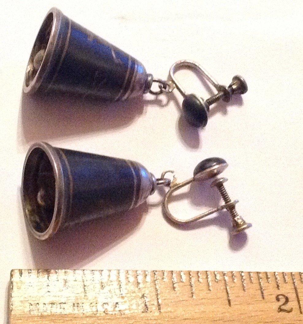 Estate vintage sterling silver Siam enamel bell earring - 2