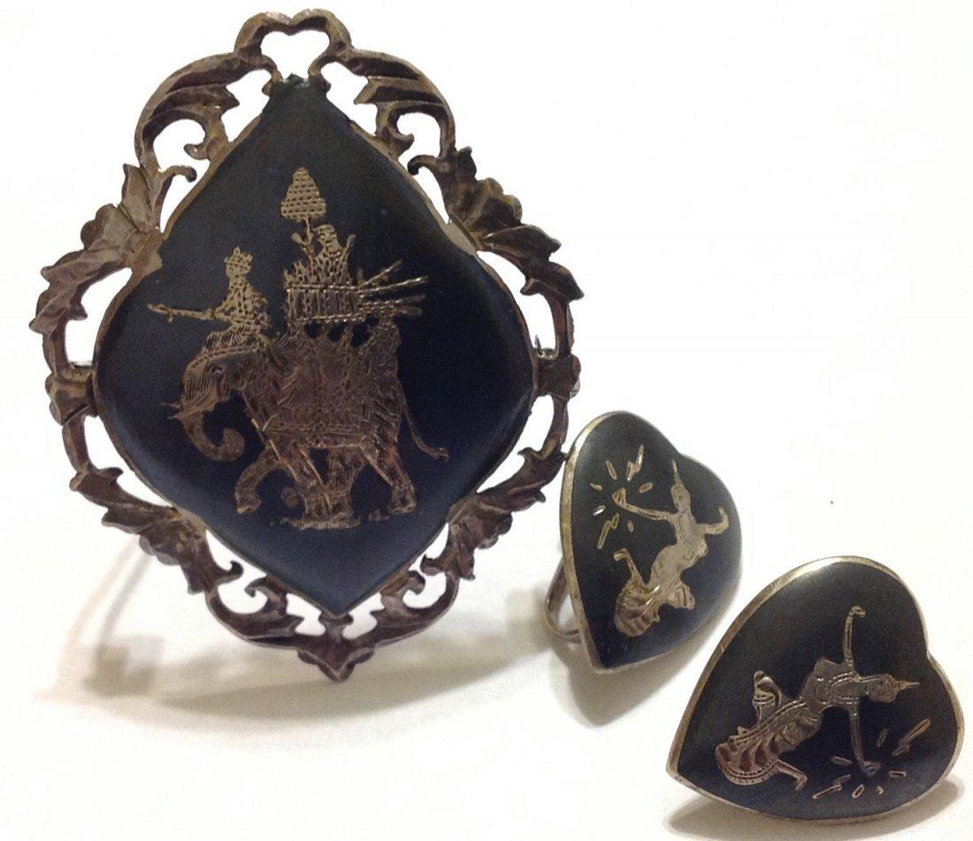 Estate vintage sterling silver Siam brooch earrings lot