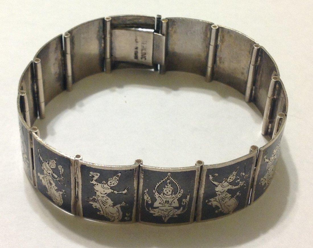 Estate vintage sterling silver Siam Panel bracelet