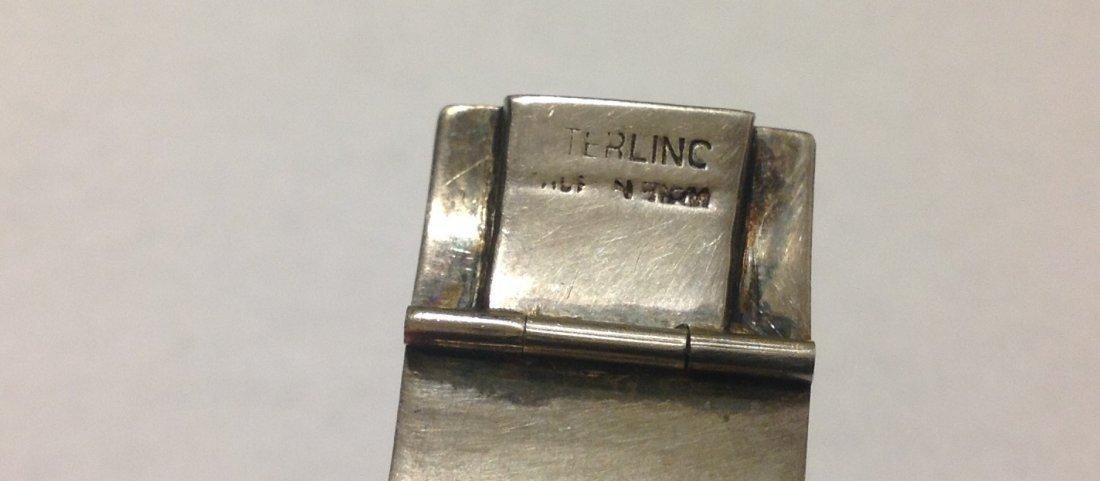 Estate vintage sterling silver Siam Panel bracelet - 3