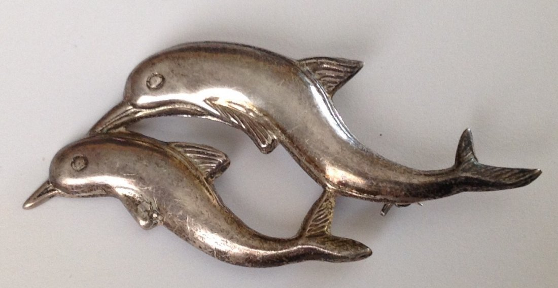 Estate vintage sterling silver Dolphins brooch