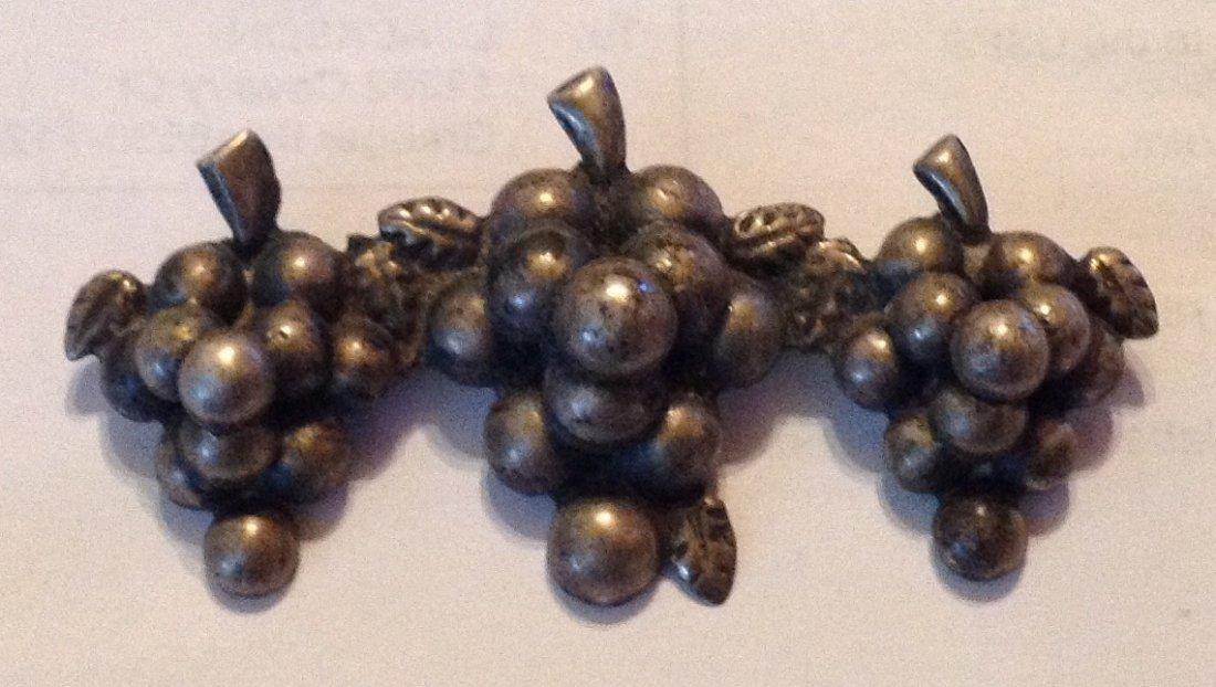 Estate antique sterling silver grape cluster brooch