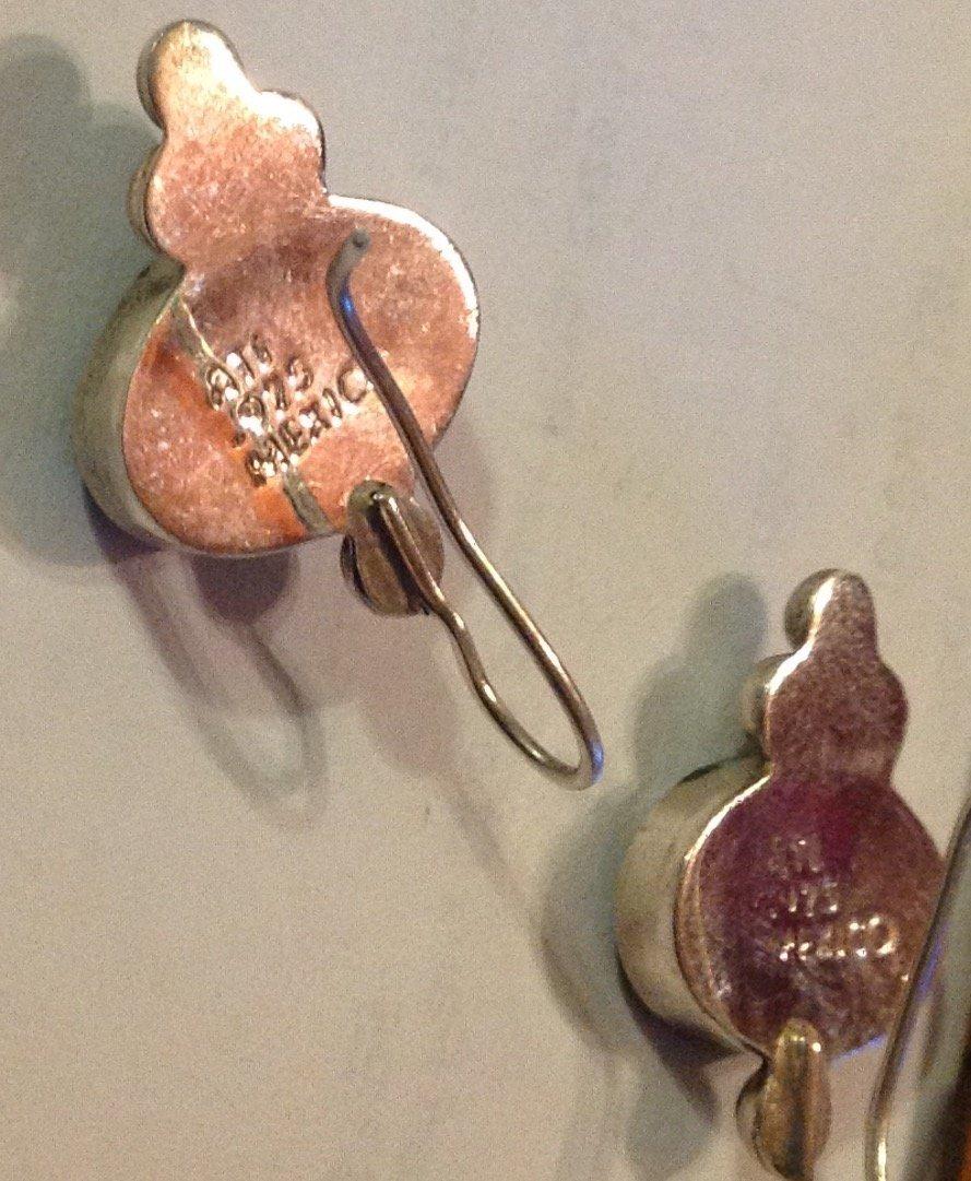 Estate vintage ATI sterling abalone earrings - 3